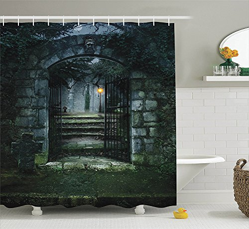 [Gothic Decor Shower Curtain Set Illustration of the Gate of a Dark Old Haunted House Cemetary Dead Myst Fiction Art Print Bathroom Accessories Grey] (The Pope Costume At The White House)