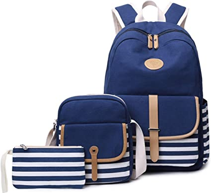 3PCS Canvas Women Backpack Girl Student Laptop Shoulder School Bags Travel Purse