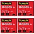 Scotch Premium Transparent Film Tape, Clear, 1/2 Inch x 36 Yards (600), 4 Packs