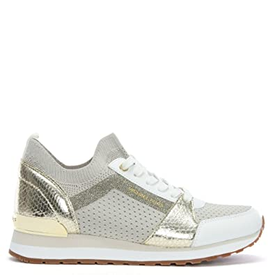 0a6784bcc2cf Michael Kors Billie Cream Metallic Knitted Sock Trainers 41 Beige Fabric