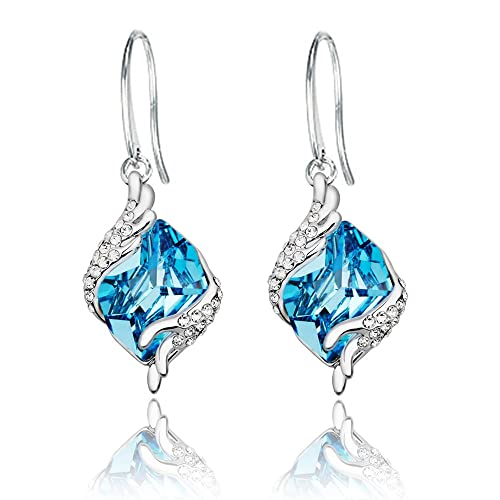 9c5dadfc78a1dd Buy Yellow Chimes Swarovski Elements Angel Guardian Blue Crystal Dangle Drop  Earrings For Women Online at Low Prices in India