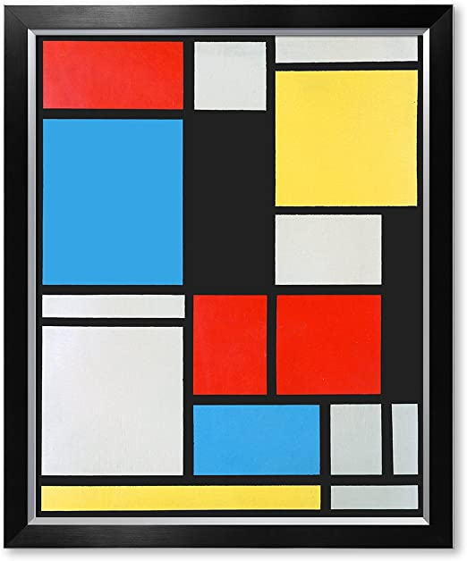 Mondrian Composition No 1 Gray-red Abstract Painting Wall Art Canvas Print 24X24