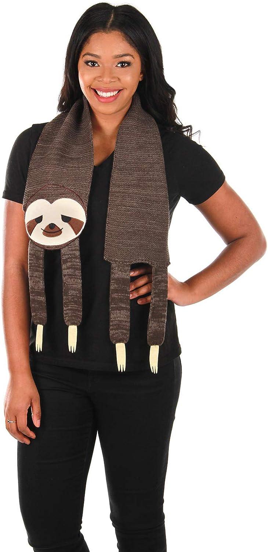 elope Sleepy Sloth Knit Scarf Brown
