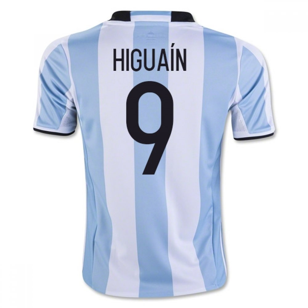 2016-17 Argentina Home Football Soccer T-Shirt Trikot (Gonzalo Higuain 9) - Kids