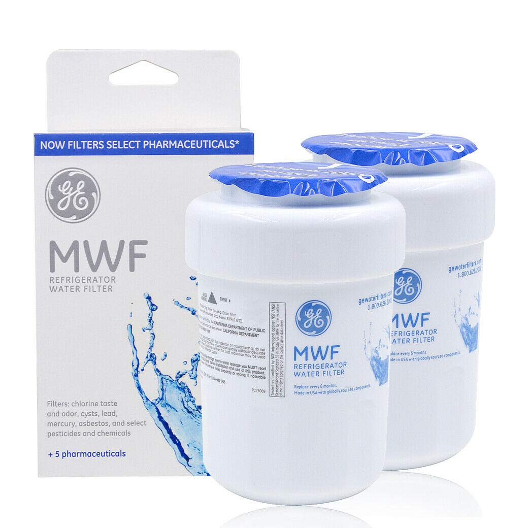 MWF Refrigerator Water Filter Replacement for MWF, MWFA, MWFP, GWF, GWFA, Kenmore 9991, 46-9991, 469991, Pack of 2 by GE
