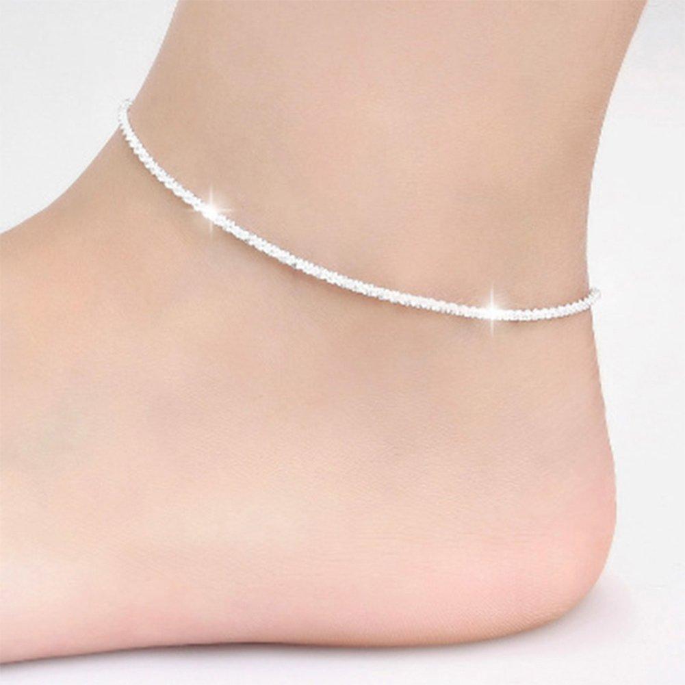AkoMatial Women Handmade Dainty Anklet, Star Heart Beads Fashion Ankle Chain, Barefoot Sandal Anklet Foot Jewelry Chain Bracelet Beach Ankle Bracelet size Hemp Rope (E)