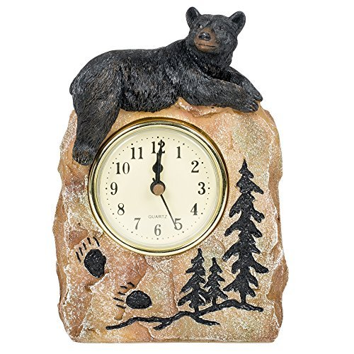 Bear Lying on a Rock Resin Decorative Tabletop Clock -