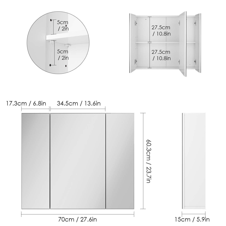 HOMFA Bathroom Wall Mirror Cabinet, 27.6 inches Multipurpose Storage Organizer Medicine Cabinet Space Saver with 3 Doors Adjustable Shlef Kitchen Cupboard, White by Homfa