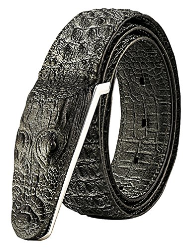 Celino Men's Casual Faux Leather Crocodile Head Texture 3.8 cm Wide Belt Strap, Gray 41.33 inch - Crocodile Belt Strap