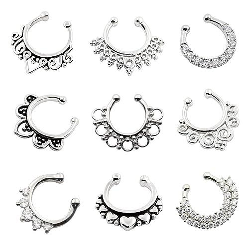 D&M Jewelry 9 Piezas Falso Tabique Nasal, Arete de la Nariz de Ilusion Anillo de