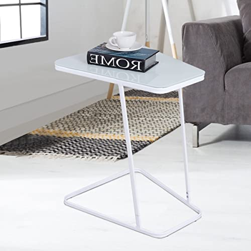 Tangkula Snack Table Home Glass Top Metal Frame Sofa Side End Table C Shaped Table 1