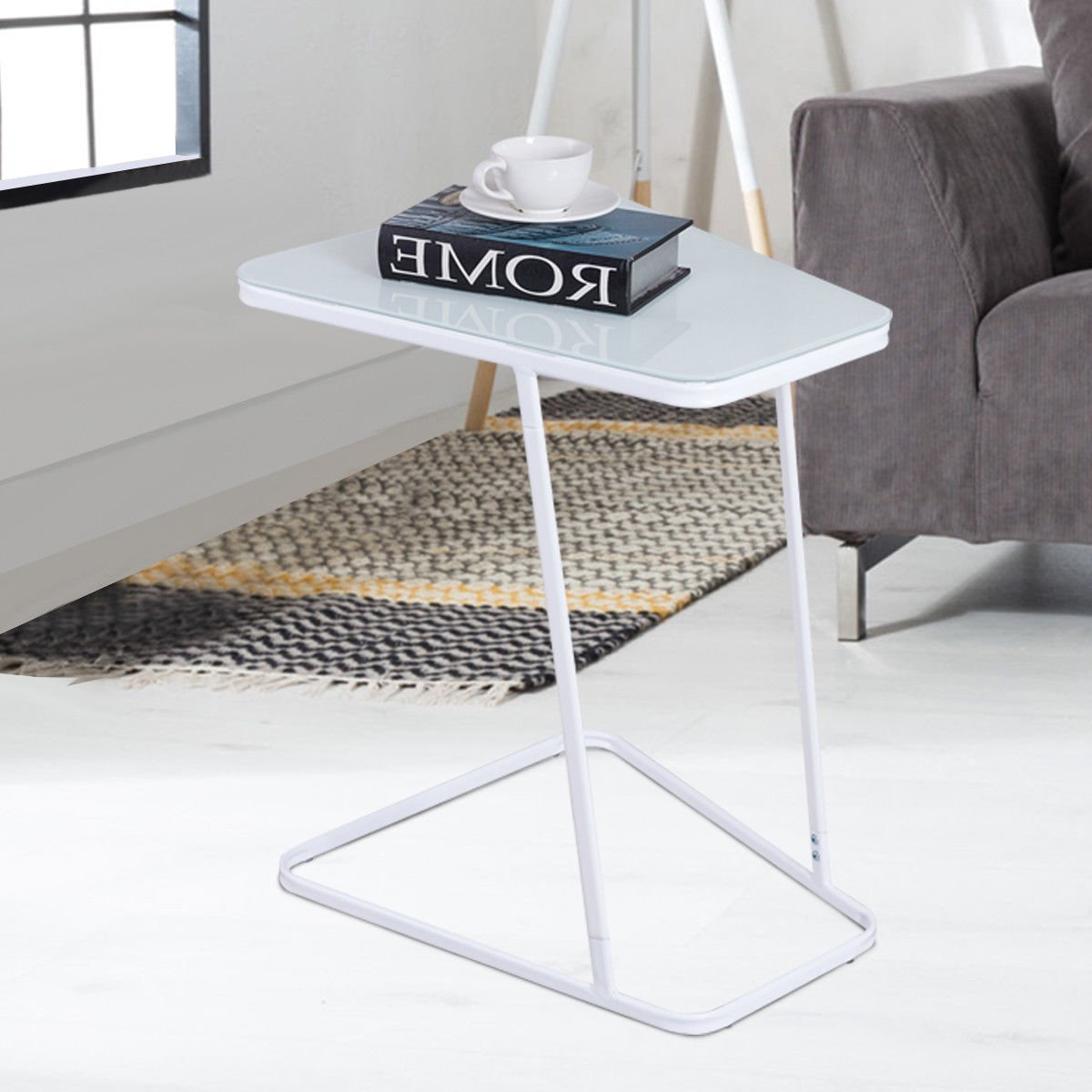 Tangkula Snack Table Home Glass Top Metal Frame Sofa Side End Table C Shaped Table 1, White