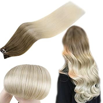 Buy Art Hair Sew In Double Weft Short Hair 12in Ombre Extensions Human Hair Color 8at60 Light Brown To Platinum Blonde Natural Remy Hair Weave 70g Online At Low Prices In India