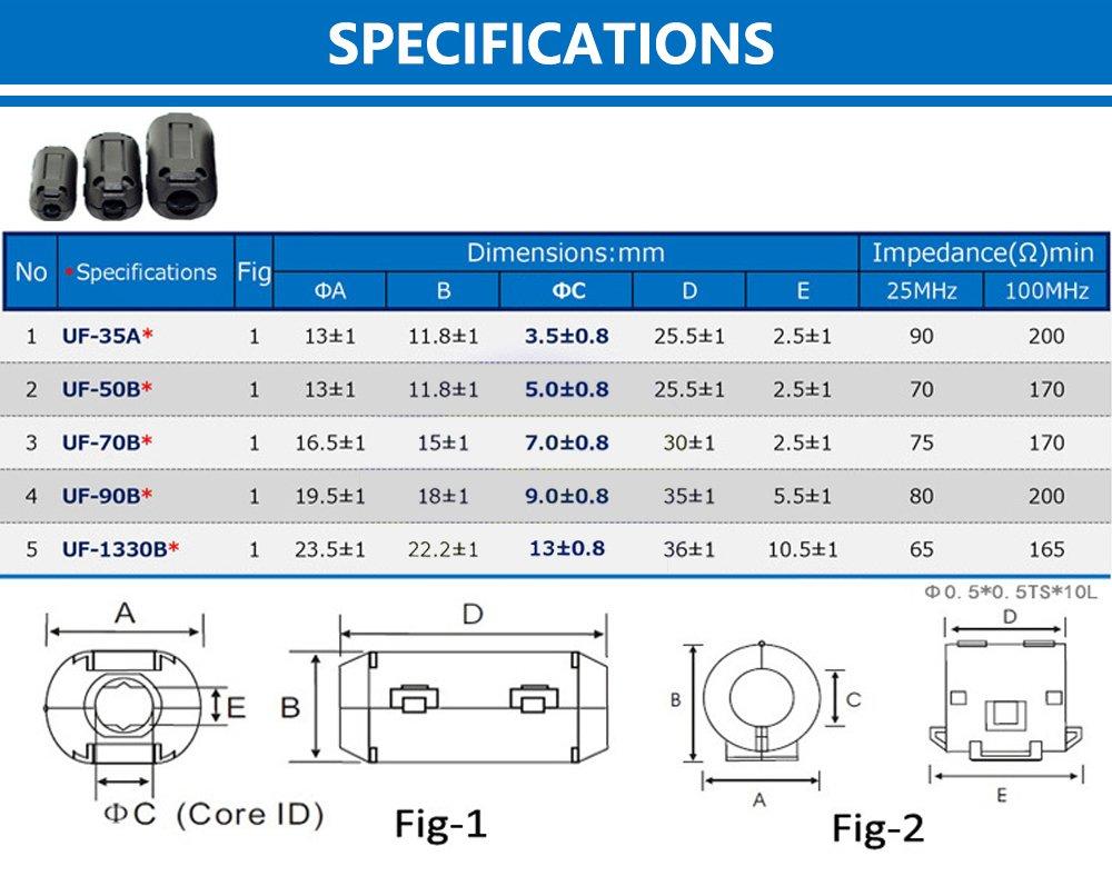 Yarachel 50PCS RFI EMI Noise Suppressor Cable Clip for 3.5mm// 5mm// 7mm// 9mm// 13mm Diameter Cable