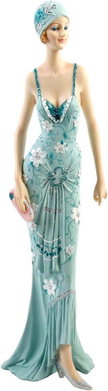 Art deco Broadway Belles Lady W borsetta Teal glitter Dress figurine Ornament