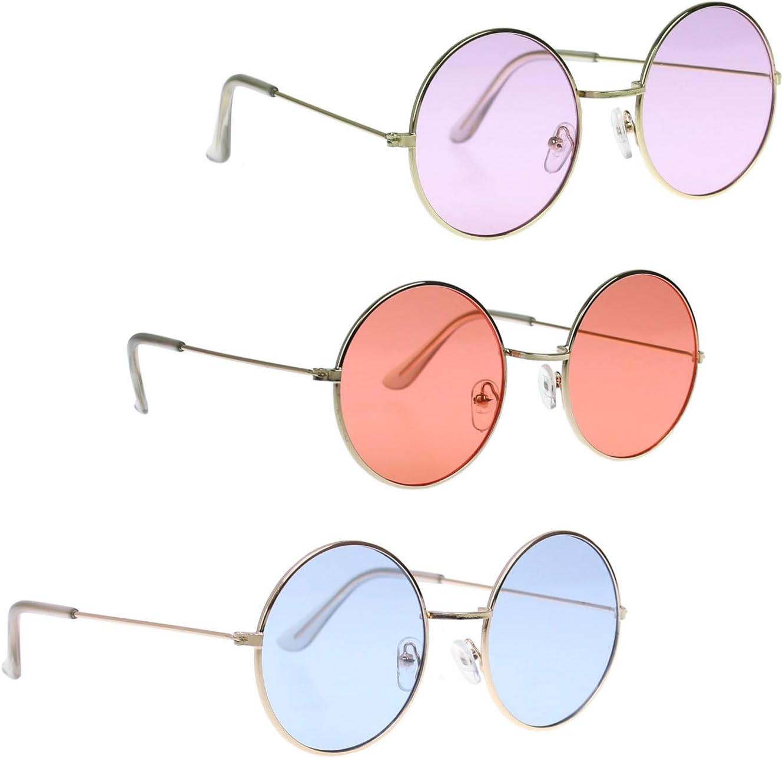 Oblique Unique/® Gafas de sol estilo hippie John Lennon redondas verde para fiestas de los a/ños 60 y 70 retro hombre y mujer accesorio para carnaval disfraz de flor