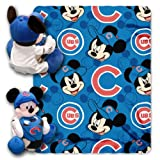 MLB Chicago Cubs Mickey Mouse Pillow with Fleece Throw Blanket Set
