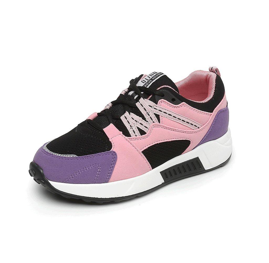 Zapatos de mujer de moda sencilla con cordones Zapatos planos de estudiantes casuales Zapatos cómodos de bajo aumento Zapatos de deportes al aire libre ( Color : Purple , Tamaño : 37 ) 37|Purple