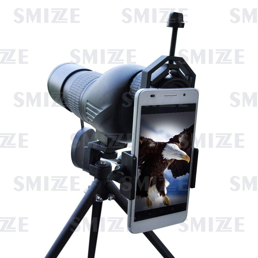 SMIZZE Universal Smartphone Adapter Mount - Compatible Cell Phone Monocular Binocular Spotting Scope Microscope Telescope - Easy Photoshoot