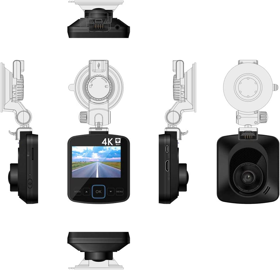 Camera Recorder 2.4 LCD Screen EWAY Dual Lens Car Dash Cam 4K WiFi with Phone App External GPS Front and Rear Camera Included 32GB Card