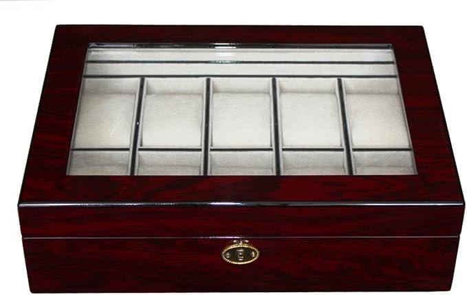 Neue Uhrenbox von Woolux für 8 Uhren Holz Cherry verschließbar Sichtfenster