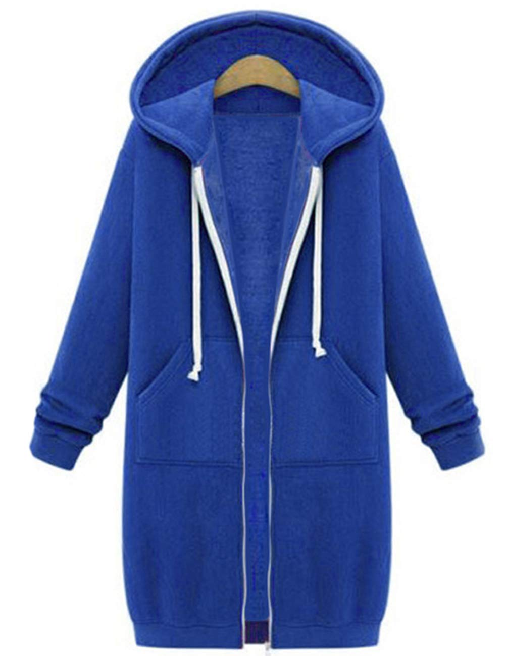 Sexyshine Women's Casual Loose Zip up Long Hoodies Sweatshirt Outerwear Jacket Tunic Coat with Pockets(BE,S)