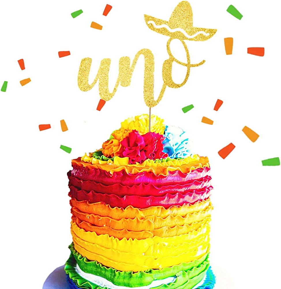 Remarkable Jevenis Glittery Uno Cake Topper Fiesta First Birthday Cake Funny Birthday Cards Online Bapapcheapnameinfo