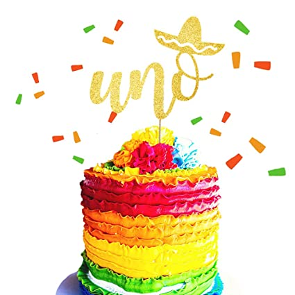 JeVenis Gold Glitter UNO Cake Topper Fiesta First Birthday Cake Decoration for Spanish First Birthday Party Decorations Supplies