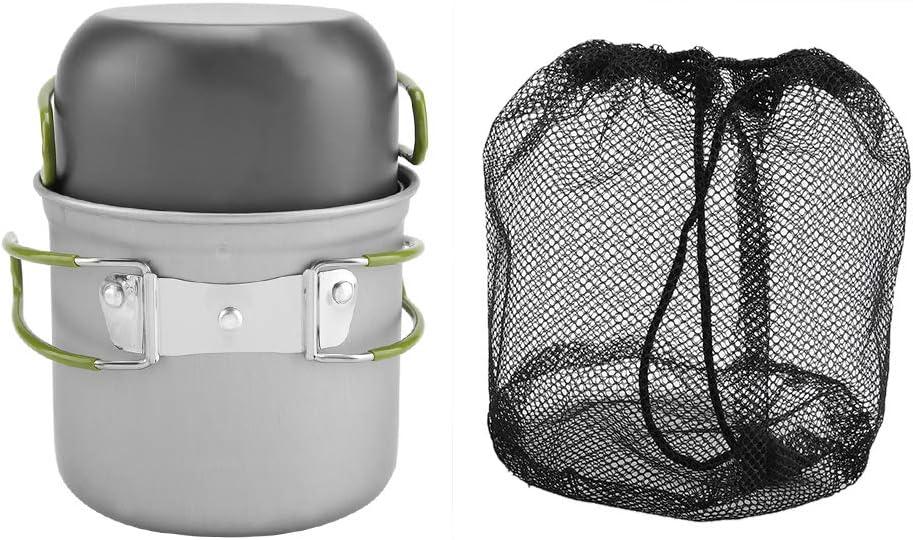 2 pezzi//set pentola di alluminio portatile pentole barbecue da viaggio allaperto campeggio picnic grande set di pentole da campeggio in acciaio inossidabile stufa da campeggio portatile allaperto