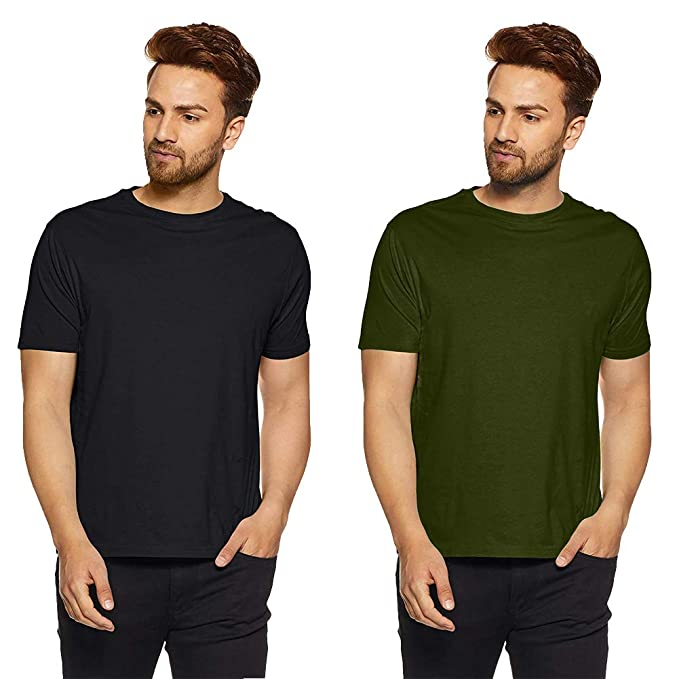8d14904b9 Humor Gang Plain Basic T-Shirt for Men | Pack of 2 | Solid Color ...