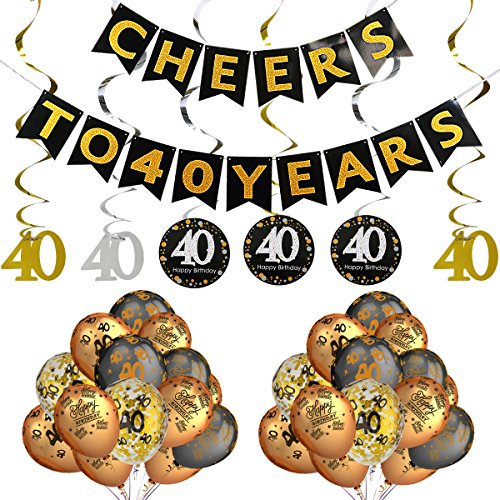 40th Birthday Party Decorations Kit- Cheers to 40 Years Banner,Sparkling Celebration 40 Hanging Swirls,Gold and Black Latex 40 Birthday Balloons,Perfect for 40 Years Old Party Decorations Supplies