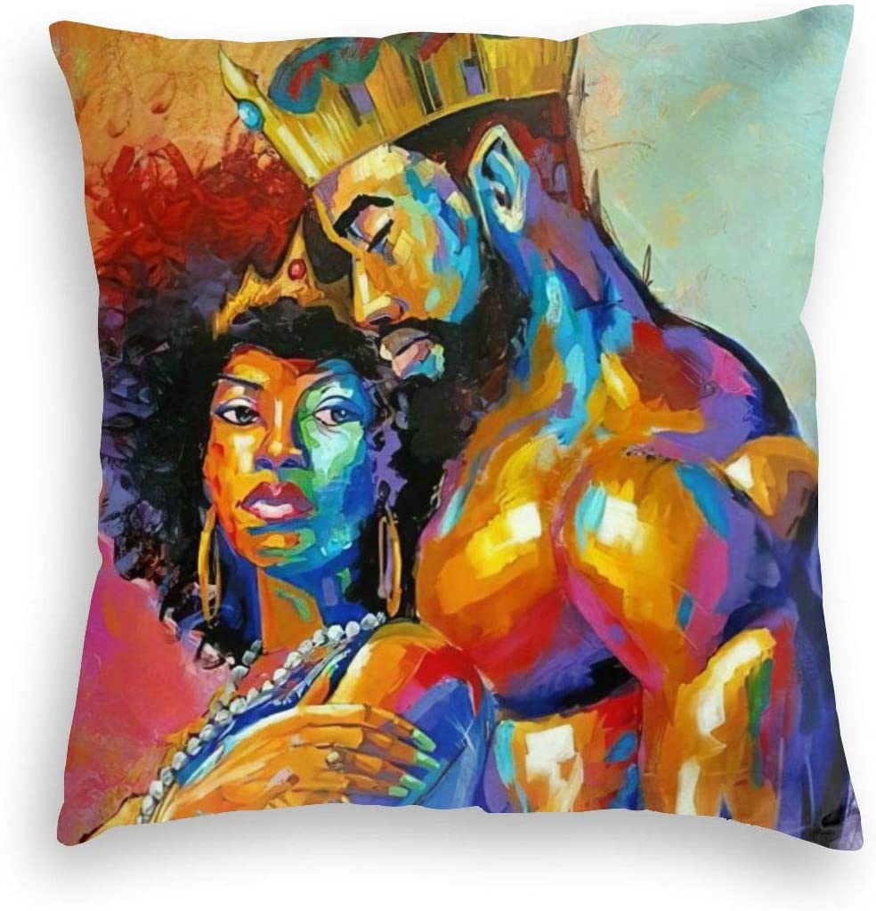 MINIOZE African Couple King and Queen Afro Print Velvet Soft Square Pillow Covers case Home Decor Cushion Covers Decorations Gifts Pillowcase for Indoor Sofa Bedroom Car 18 X 18 Inch