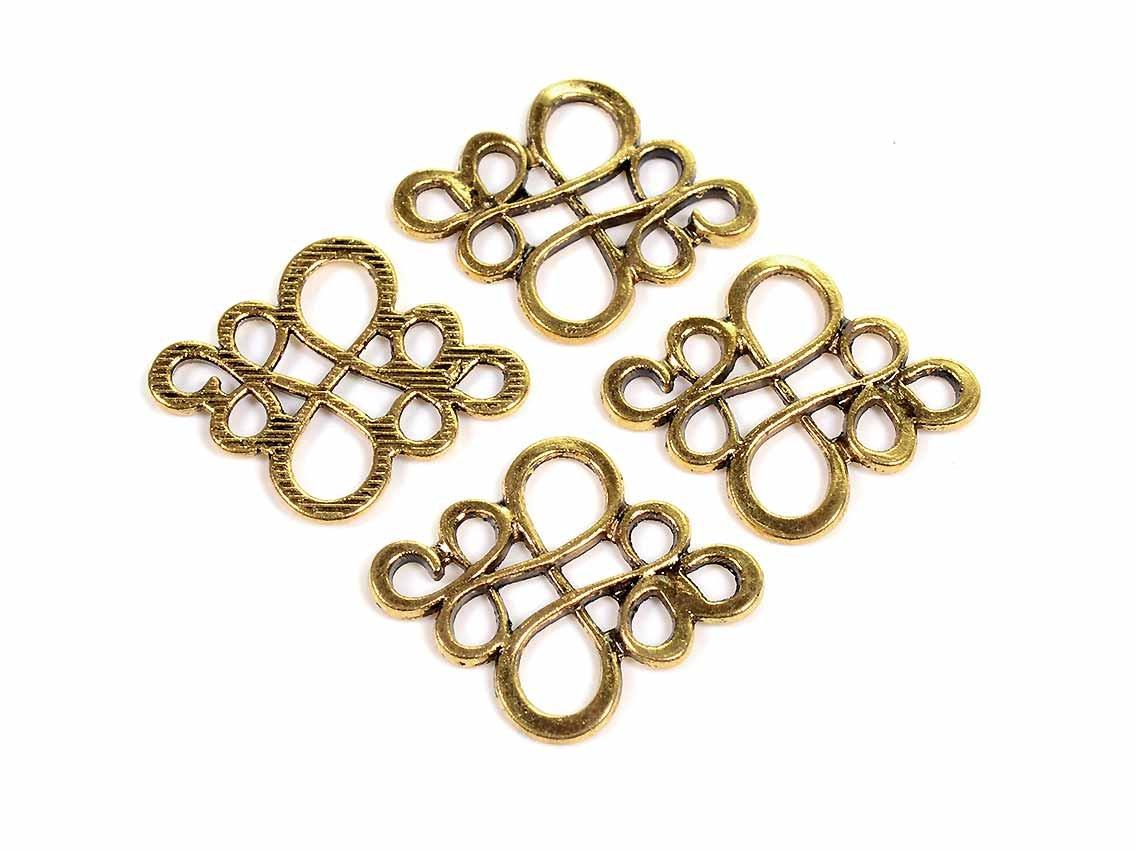 filigran gearbeitete Verbinder in antik goldfarben 6 Stück von vintageparts DIY Schmuck Schmuckverbinder