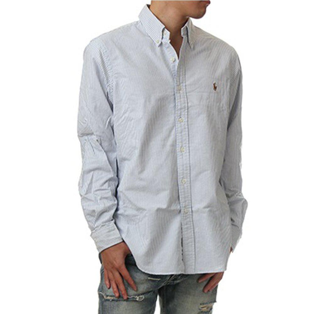(ポロ ラルフローレン) POLO RALPH LAUREN/Oxford Button-down shirt XS-2XL ボタンダウン クラシック 長袖シャツ オックスフォードシャツ ユニセックス [並行輸入品] B07BF9C77Z S|ストライプ(ブルーストライプ) ストライプ(ブルーストライプ) S