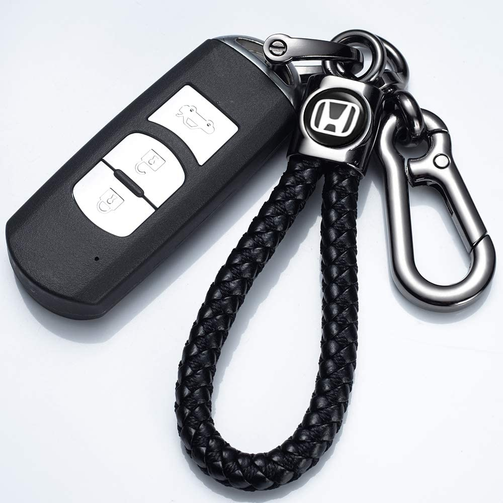 Genuine Leather Car Logo Keychain for Jeep Key Chain Accessories Keyring Gift with Logo for Man and Woman Elegant,Durable Silver