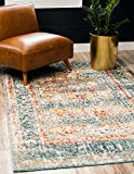 Cheap Unique Loom Rosso Collection Vintage Traditional Distressed Blue Rectangle (5′ x 8′)