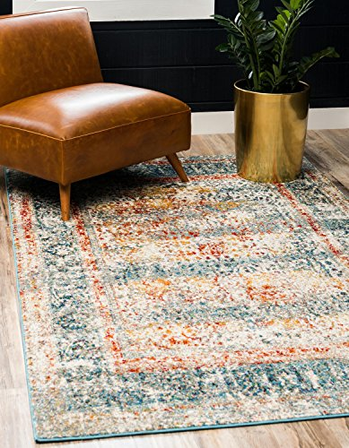 Unique Loom Rosso Collection Vintage Traditional Distressed Blue Area Rug (5