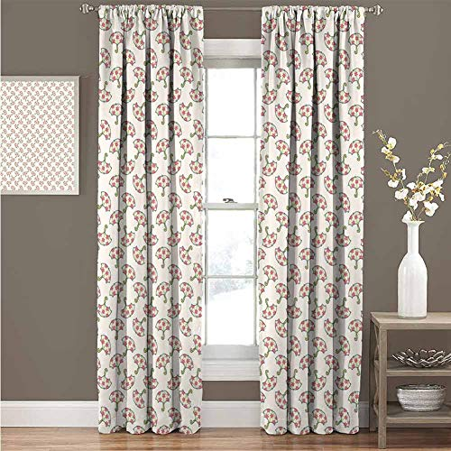 Umbrella Thermal Grommet Blackout Curtains Spring Open Parasols with Pink Flowered Canopies Feminine Accessories Blackout Curtains for Bedroom W120 x L108 Inch Pale Green Pink Beige