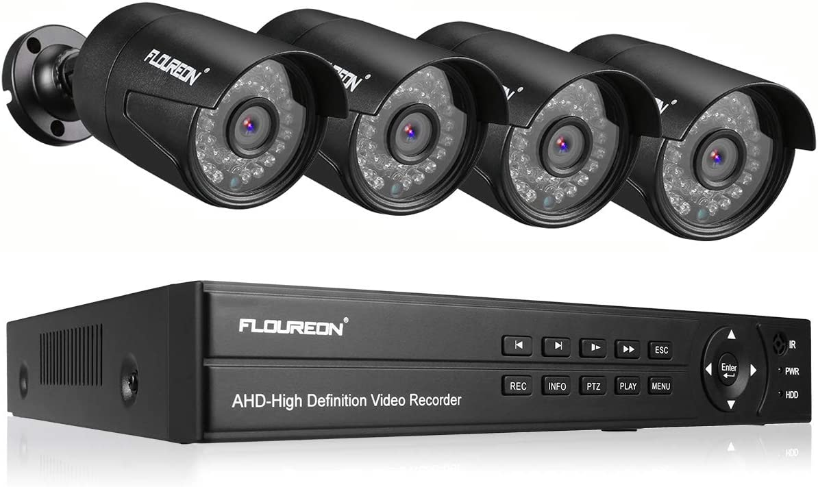 FLOUREON 8CH 5-IN-1 Security Camera System 1080N AHD Video DVR Recorder with 4X HD 3000TVL 2.0MP CMOS Lens 1080P Indoor Outdoor Weatherproof CCTV Cameras, Night Vision, Easy Remote Access, Motion Aler