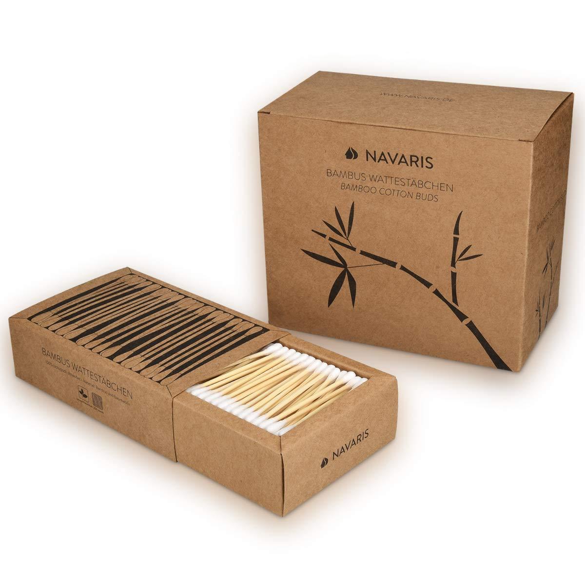 Ohren St/äbchen vegan biologisch abbaubar Ohrenst/äbchen nachhaltig aus Holz und Baumwolle Navaris 800 /Öko Wattest/äbchen aus Bambus im Set