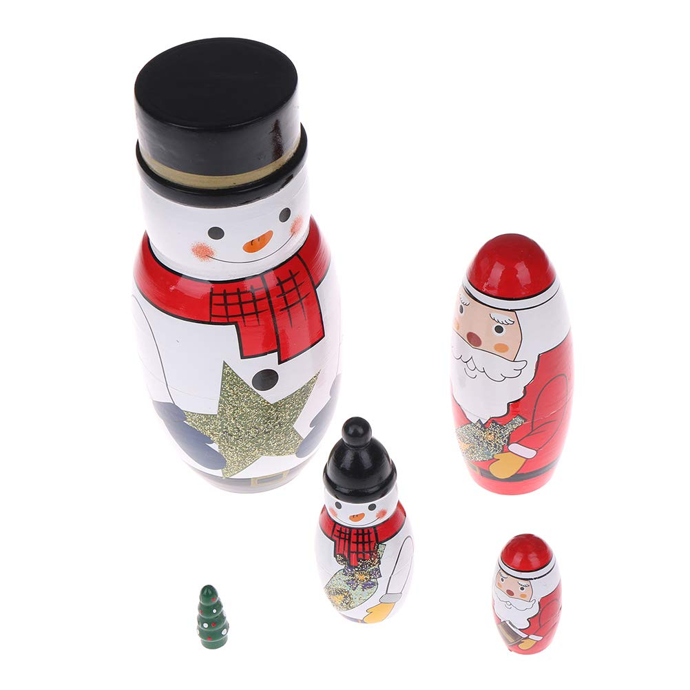 Adasea 5 Pcs Handmade Wooden Russian Nesting Stacking Dolls Santa Claus Matryoshka Dolls Gift for Christmas Birthday