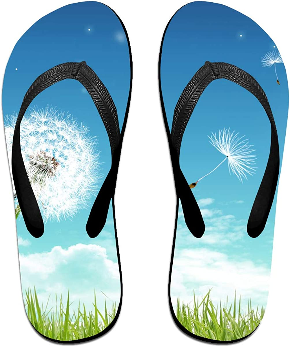 Couple Slipper Dandelion Sky Print Flip Flops Unisex Chic Sandals Rubber Non-Slip House Thong Slippers