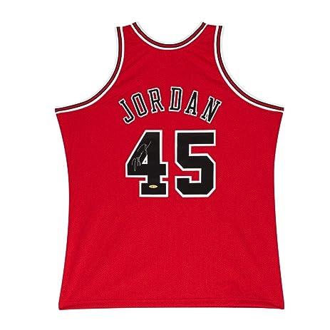 81bebe62998b2d ... Back Michael Jordan Chicago Bulls 1995 45 Jersey Michael Jordan Signed  Autographed Jersey 1995 Red Bulls Mitchell Ness 45 UDA ...