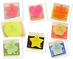 Super Sticky Notes,Pack of 8 Pads,8 Colors,8 Shapes,30 Sheets/Pad