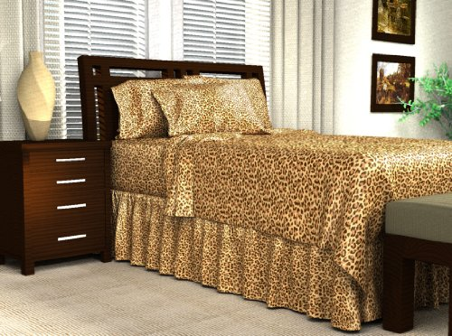 Leopard Satin Sheets - Leopard Print Satin Flat Sheet, Queen