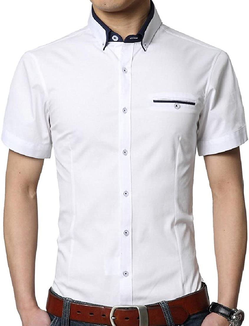 BAYY Mens Plus-Size Short-Sleeve Thin Solid Color Business Button Down Dress Shirt