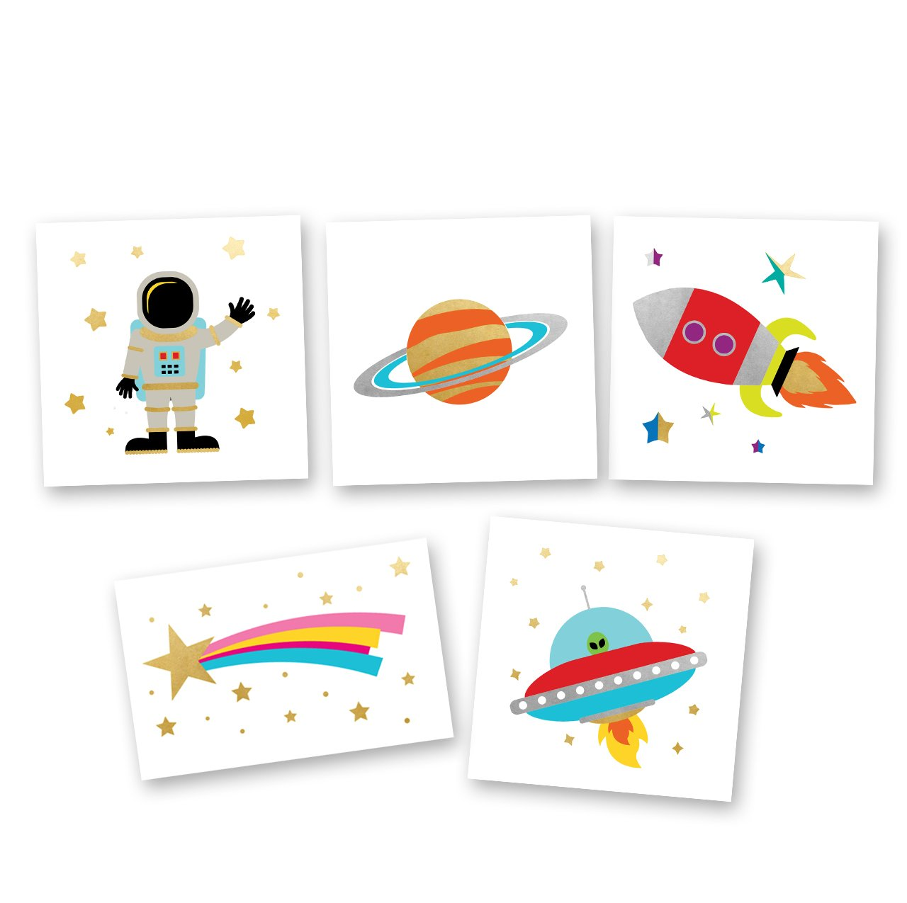 Space Explorer Variety Set includes 25 assorted premium waterproof colorful metallic kids temporary foil Fun Tats by Flash Tattoos, party favor