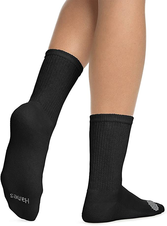 6pr Girls Hanes Crew Socks sizes S-L