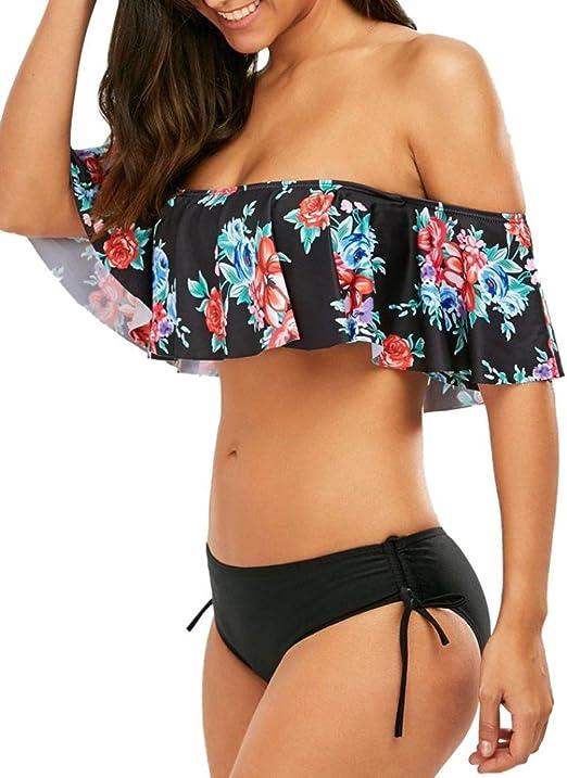 Women Plus Size Bikini Set Strip Vest Briefs Ruffles Swimwear Beachwear Swimsuit