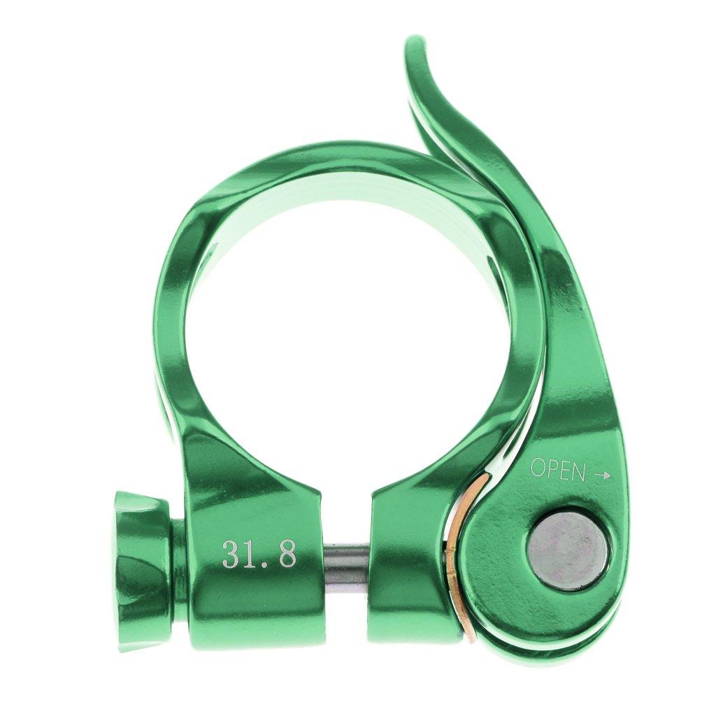 monkeyjackアルミニウム合金マウンテンロードバイク自転車シートポストクランプ31.8 MMクイックリリースシートポストクランプ B077PSHNL8 31.8mm|グリーン グリーン 31.8mm